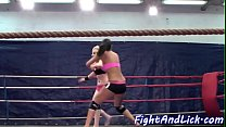 Roundass lesbians wrestling in a boxing ring Thumbnail