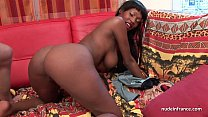 Pretty big boobed french black deep anal fucked...