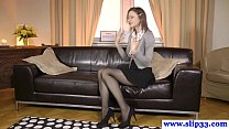 Classy euro beauty rips stockings for fuck Thumbnail