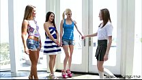 Four horny delightful hot lesbians turns on con...