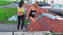College teen pussyrubbed while cream covered