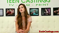 Real teen hardfucked and creamed at casting