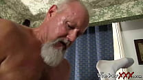 Hairy dad with piercing loves hard bareback sex...
