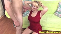 HJ loving blonde granny tugging cock
