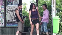 Young girl with big tits fucked hard in PUBLIC bus stop - download porn videos