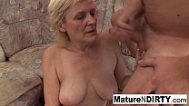 Old grandma takes a pussy pounding on the couch Thumbnail