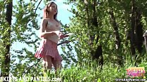 try girl lilia flashing her panties outdoors