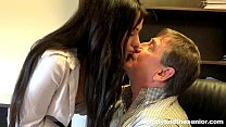 Pierced brunette teen Bella fuck an old cock