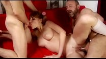 Hot Threesome with Older man and cute babe