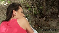 Brunette gf anal fucked outdoor in woods pov