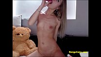 Blonde exposing her perfect pink teen pussy on ...