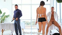 HD FantasyHD - Holly Michaels massages two guys...