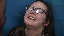 Amateur gets face and glasses cum covered