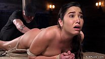 Hairy beauty made squirting in hogtie Thumbnail