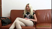 Blonde masturbates and bangs on couch in office