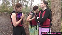 hairy amateur girl fingered in rafting threesome