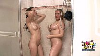Big boob pregnant blonde showers together with ...