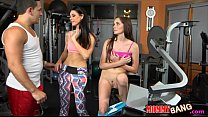 India Summer and Bella Skye hot threeway session in the gym