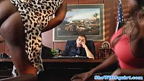 Squirting ebony babes make guys office messy thumb