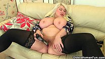 Big titted milf Sam fucks herself with a dildo Thumbnail