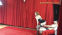 Young man gets BJ and handjob from redhead agen...
