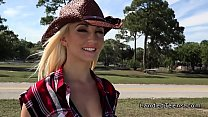 Blonde cowgirl teen bangs stranger in a truck