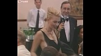 johansson falls out of her dress