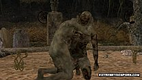 3D Zombie Gets Fucked Hard in a Graveyard