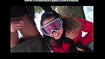 Couple tries extreme blow job outdoors)