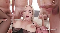 7on1 DAP gangbang Natalie Cherie gets short DP,...