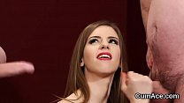 Unusual bombshell gets cum load on her face swa...