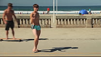 Twink dancing in the beach with speedo bulge / ... Thumbnail