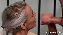 Nasty bombshell gets jizz shot on her face gulp... Thumbnail