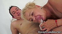 Mature granny sucks cock