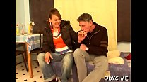 Concupiscent juvenile amateur babe gives old guy a steamy blowjob