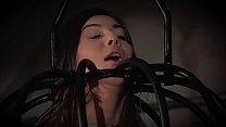 Teen trapped in a cage submissive to punishment...