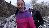 Freezing babe fucked on the snow by naughty stranger