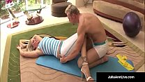 bangs yoga instructor and gets a load on her tits