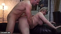 Housewife milf plays on skin sofa with a student Thumbnail