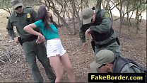 Scared brunette caught crossing border abused b...