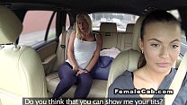 Horny lesbian licks female fake taxi driver
