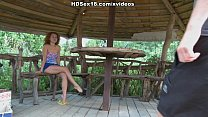 Curly girl in the hot outdoor deep penetration sex action