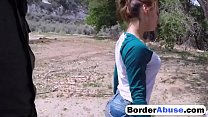 Sneaky Latina stripper is fucked in border by a...