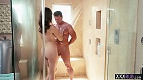 Sexy big boobs teen showers and massage her old husband Thumbnail
