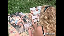 Curly slut fucks outdoors with some