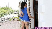 Cheerleader teens visit the coach at home to ch...