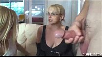 Teen and mature double team handjob Thumbnail