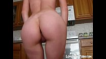 Sexy teen girl Katarina gets naked in the kitchen