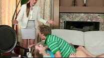 sexy stepmom in glasses caught teen couple fucking on the couch
