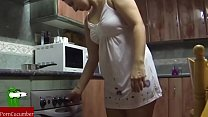 Fucking in the kitchen and she swallows it all. Spying my gf SAN53